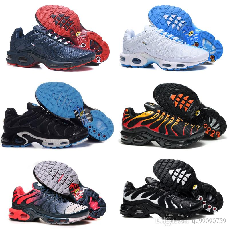 finest selection 431a1 b71bb 2018 Classic Air Tn Shoes New Design Men Tn Shoes for Cheap Tn Requin  Breathable Mesh Black White Red Chaussures Homme Trainer Sports Shoes Tn  Shoes Air Tn ...