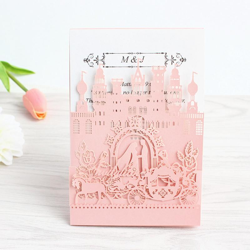Pop Up Wedding Invitation Card Royal Weeding Engagement Invite Laser Cutting Blue Pink White Free Ship Adult Birthday Cards Animated From