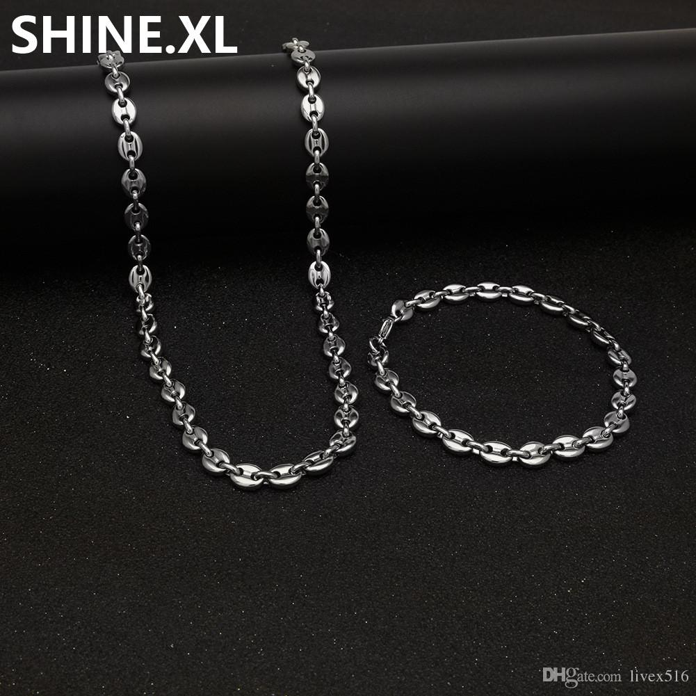 "316L Stainless Steel Coffee Bean Chain 22""Necklace and 8""Bracelets Fashion Hip Hop Jewelry Set Gold Chain for Men"