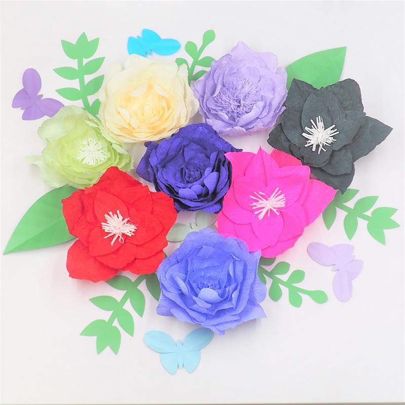 2018 Giant Crepe Paper Flowers Backdrop 8pcs Leaves 7pcs Butterflies 5pcs For Wedding Event Retail Store Wall Backdrop Decor