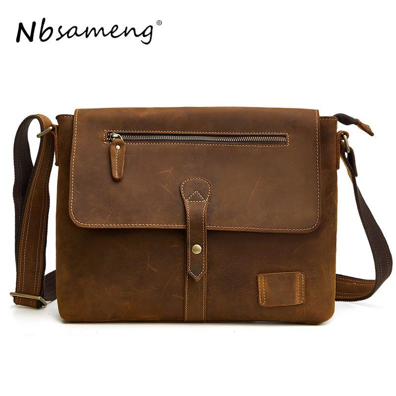 7f3558c41c97 NBSAMENG 2018 Men Genuine Leather Messenger Bags Shoulder Bags For Men  Vintage Crossbody Bag Male Bag Handbag Phone Bolsas Ladies Handbags Leather  Handbags ...