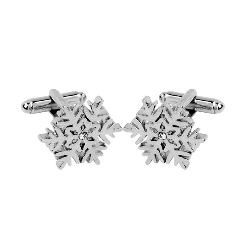 New French Shirt Silver Men Cufflink Jewelry Snowflake Accessories Wedding Groom Men Cuff Links Business Cufflinks For Mens Gift