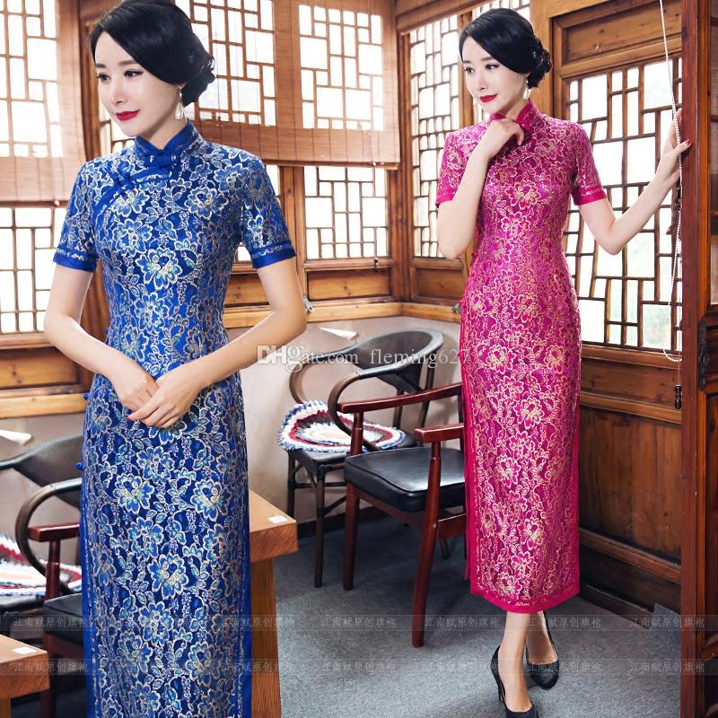 Vintage Shanghai story tang suit Chinese Traditional Women's Qipao long elegant Cheongsam party Dress Chinese-style Summer cheongsam vestido