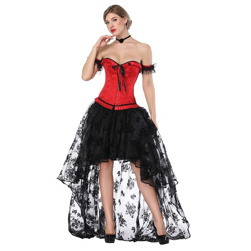c42e1a4b1da 2019 Black   Red Vintage Steampunk Corsets And Bustiers Sexy Corset Dress  Victorian Gothic Clothing Plus Size Burlesque Costumes 3XL From Blairi