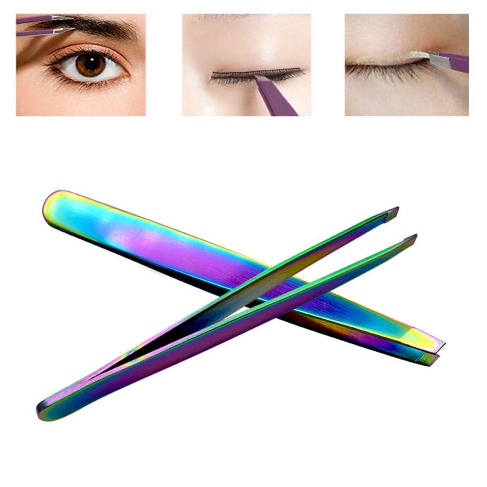 Eyelash Curler Rainbow Eyebrow Tweezer Stainless Steel Slant Tip