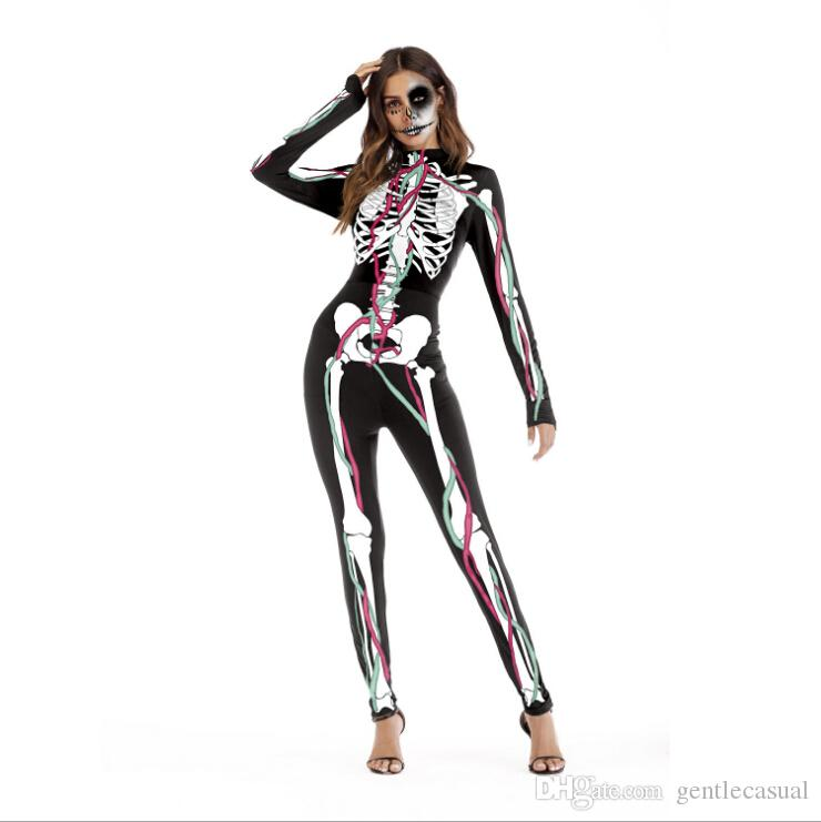 Halloween Costumes Scary Men.Halloween Skeleton Costume Men And Womens Sexy Cosplay Costume Scary Costume Body Suit Halloween Cosplay Jumpsuit