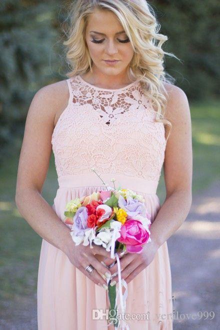País Cinza Vestidos de Dama de Honra para o Casamento Longo Chiffon A Linha Backless Vestidos Formais Festa Rendas Modest Maid Of Honor Vestido