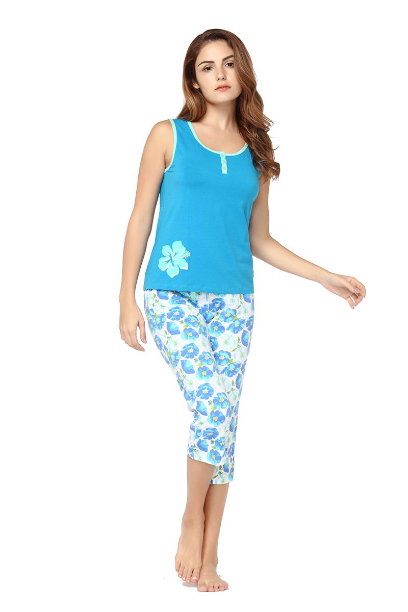 ffaba8a8dde Women s Summer Sleepwear Set Cotton Sexy Pajama Sets Shorts Capris  Drawstring Sleevless Floral Print Nightwear Femme Pyjama Set