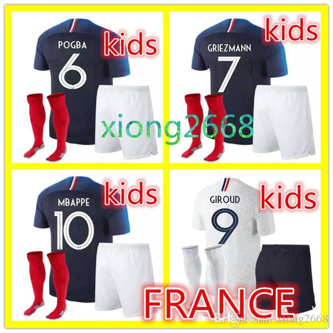 TOP Quality GRIEZMANN MBAPPE Kids Kit Soccer Jersey Boys Child World ... 28d2878d1