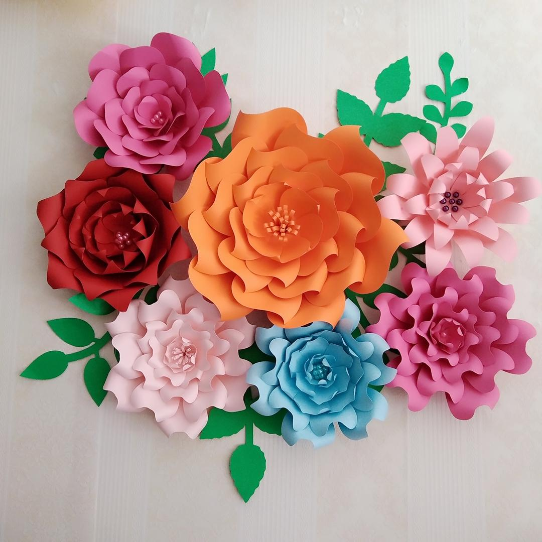 2018 Giant Paper Flowers Large Rose With Match Leaves For Baby Nurseries  Baby Shower Wedding Backdrop Fashion & Trade Show Deco