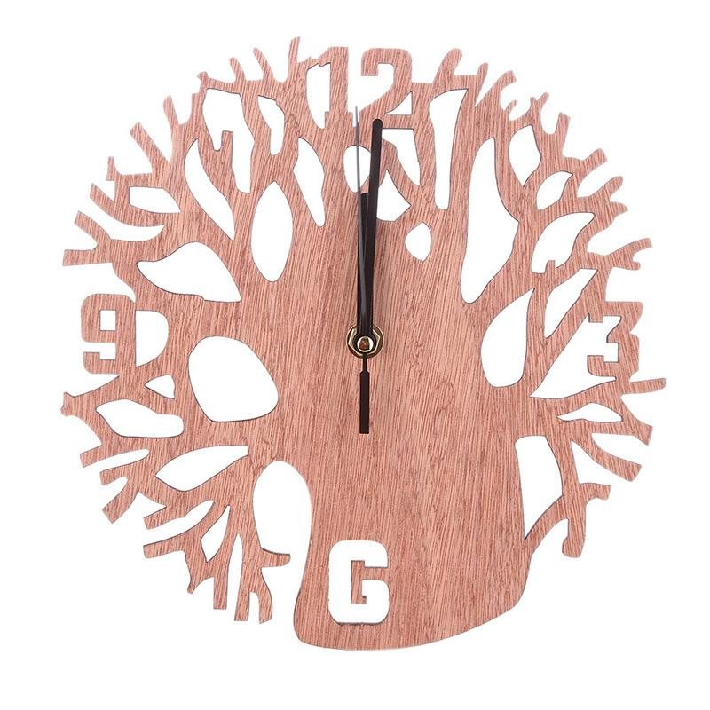 Home Decor Round Wall Clock Wood Life Tree Retro Clocks Home Decorate Watch for Living Room Bedroom Office Decoration