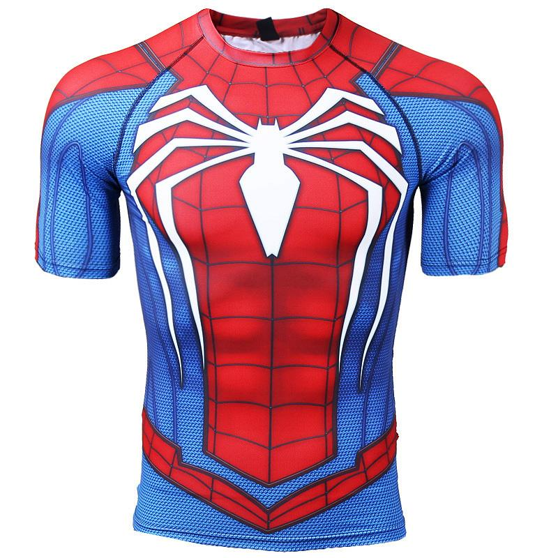 Sleeve Fitness Compression Hommes Bodybuilding T Pour Imprimé Tops Raglan Spiderman Male 3d Vêtements Shirts Crossfit ZuXiTPkO