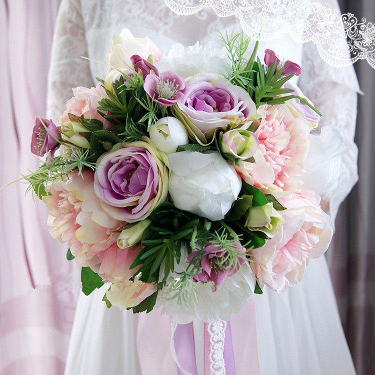 Wedding Flowers Bridal Bouquet Prices: Jane Vini 2018 Elegant Artificial Peony Rose Silk Flower