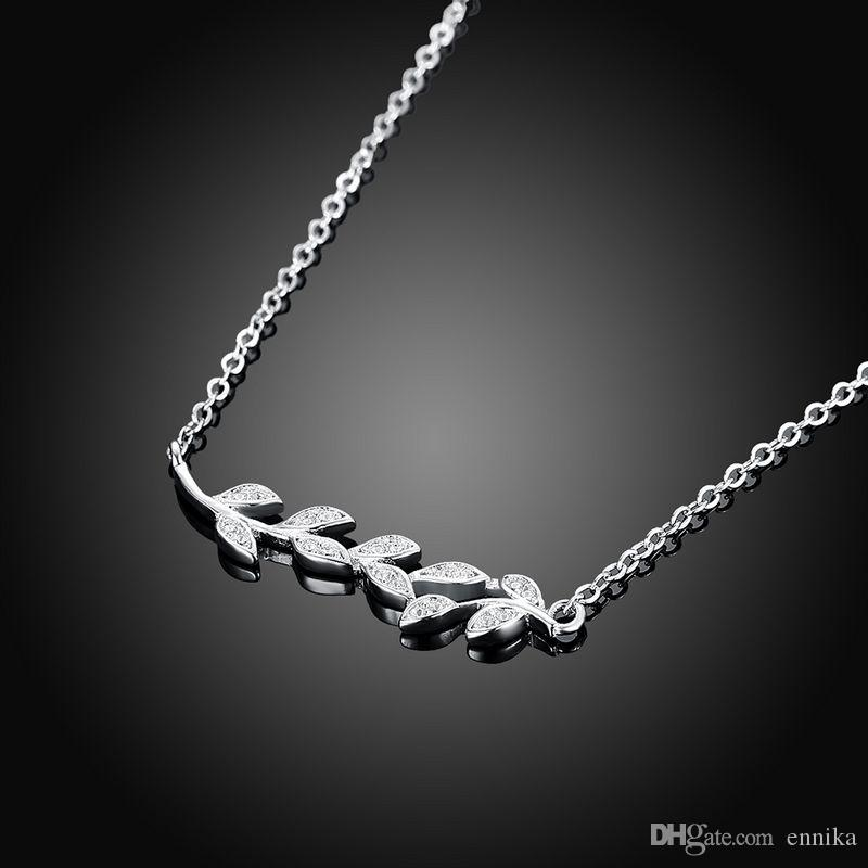 Sterling Silver 925 Necklace Lady Zircon Jewelry Pure Silver Olive Branch Pendant Necklace n115