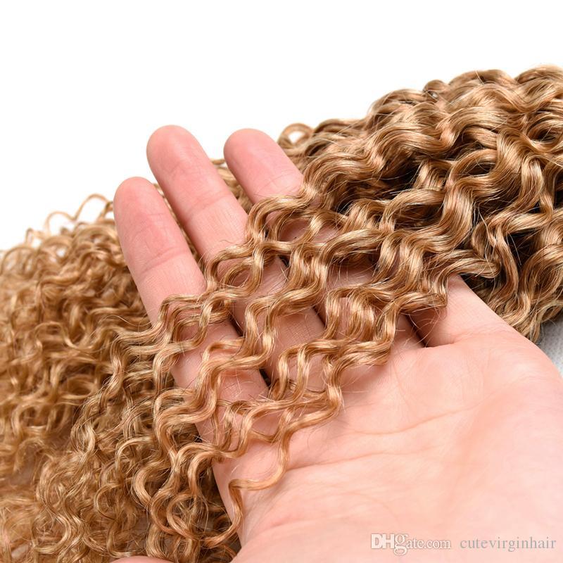Brezilyalı Bal Sarışın İnsan Saç 3 Demetleri Sapıkça Kıvırcık Malezya Perulu 27 # Saf Renk Kıvırcık Virgin İnsan Saç Dokuma Uzantıları