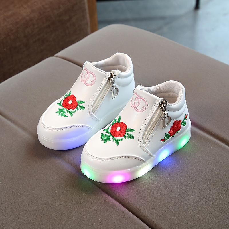 8643f5b36c4ebf 2018 LED Lights Up Baby Girls Short Boots Flowers Princess Shoes Glowing  Newborn Soft Bottom Shoes Fashion Infant Sports Long Boots For Girls  Cowgirl Boots ...