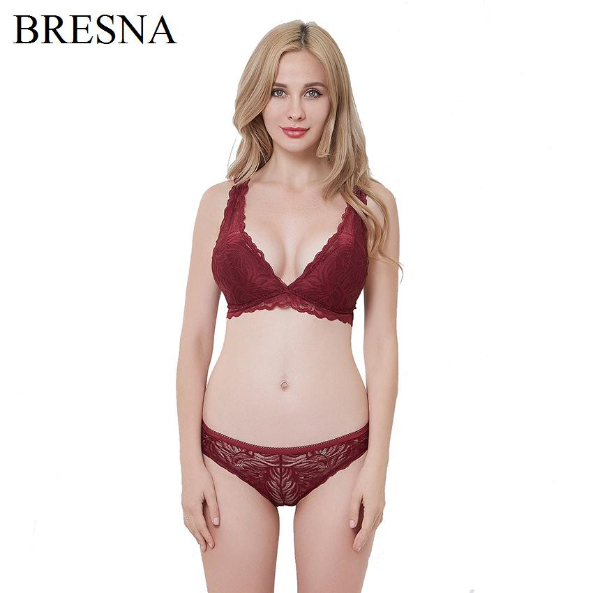 2019 BRESNA Floral Lace Deep V Plunge Triangle Wireless Vest Top Bra And  Panty Set Lacy Underwear Ultra Thin Lingerie Women Brassiere From Missher 667080c36