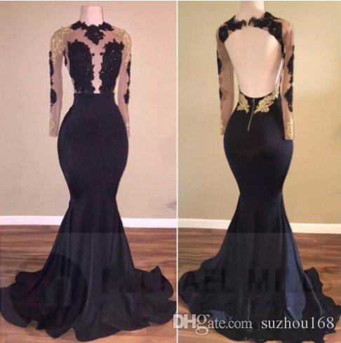 Vestidos de fiesta negro y dorado