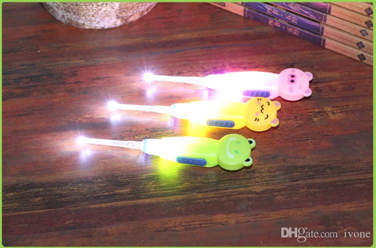 Children's cartoon animal safety ear spoon,flashlight, Removable Five in one Luminous ear scoop baby Earpick P1005