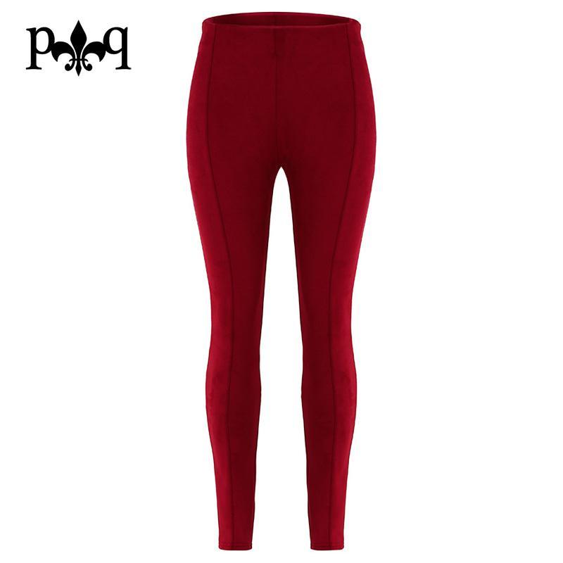 Hilove Wildleder-Gamaschen-Frauen-reizvolle dünne Bleistift-Hosen-elastische hohe Taillen-Frauen-Hosen nehmen beiläufige Streetwear-Damen-Hosen ab