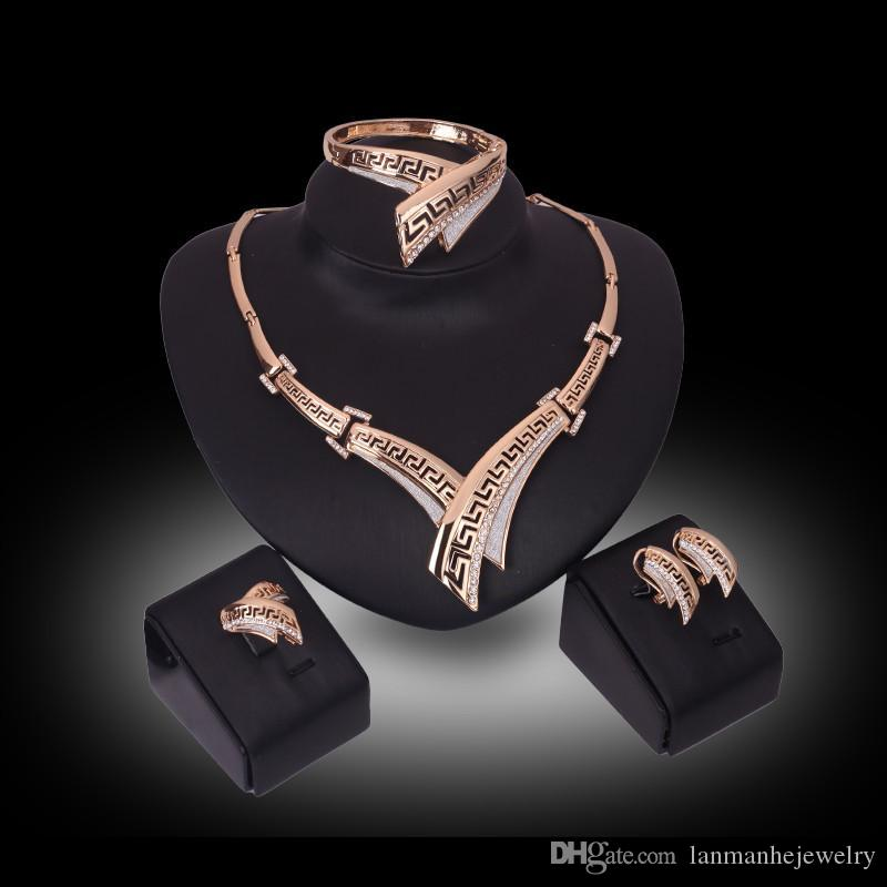 Necklace Earrings Bangle Ring Jewelry Set Roayl Luxury Rhinestone 18K Gold Plated Geometric Alloy Party Jewelry 4-Piece Set Wholesale JS173