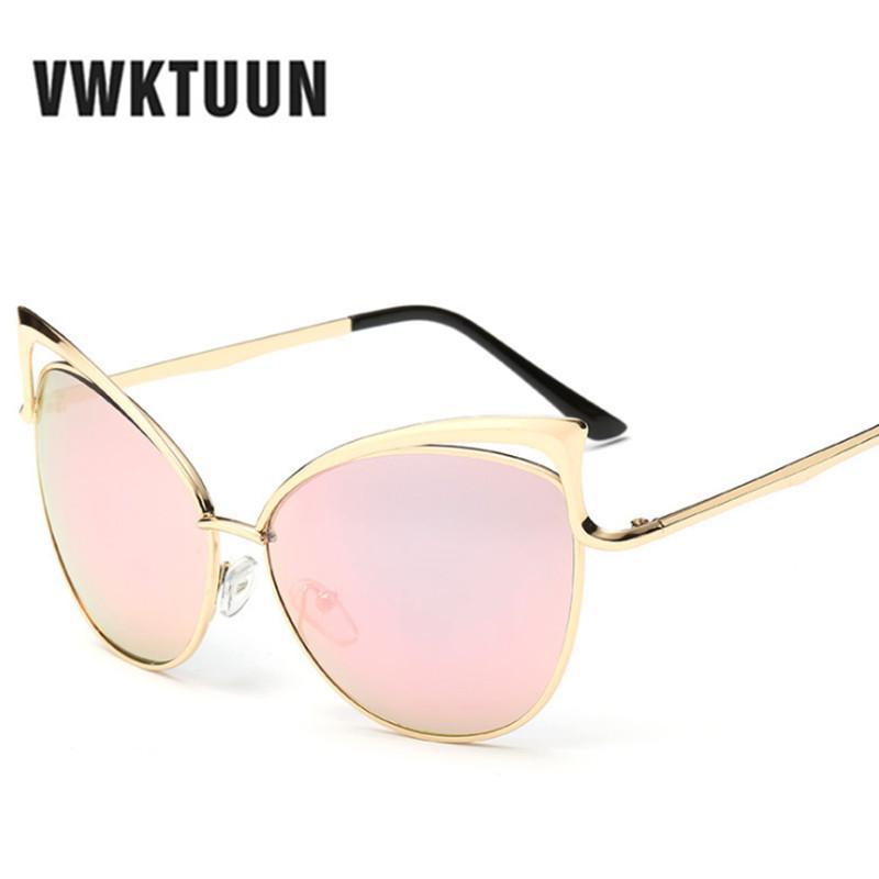 1eaecde116 VWKTUUN Fashion Cat Eye Luxury 2018 Sunglasses Women Brand Designer Pink  Mirror Mens Sun Glasses Vintage Female Oculos De Sol Baseball Sunglasses  John ...