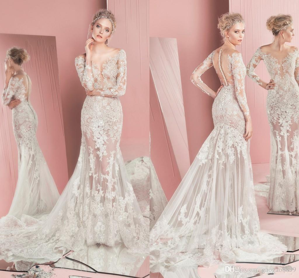 2018 Spring Zuhair Murad Cheap Wedding Dresses Bridal Gowns Long Sleeves Jewel Lace Wedding Gowns See Through Custom Made