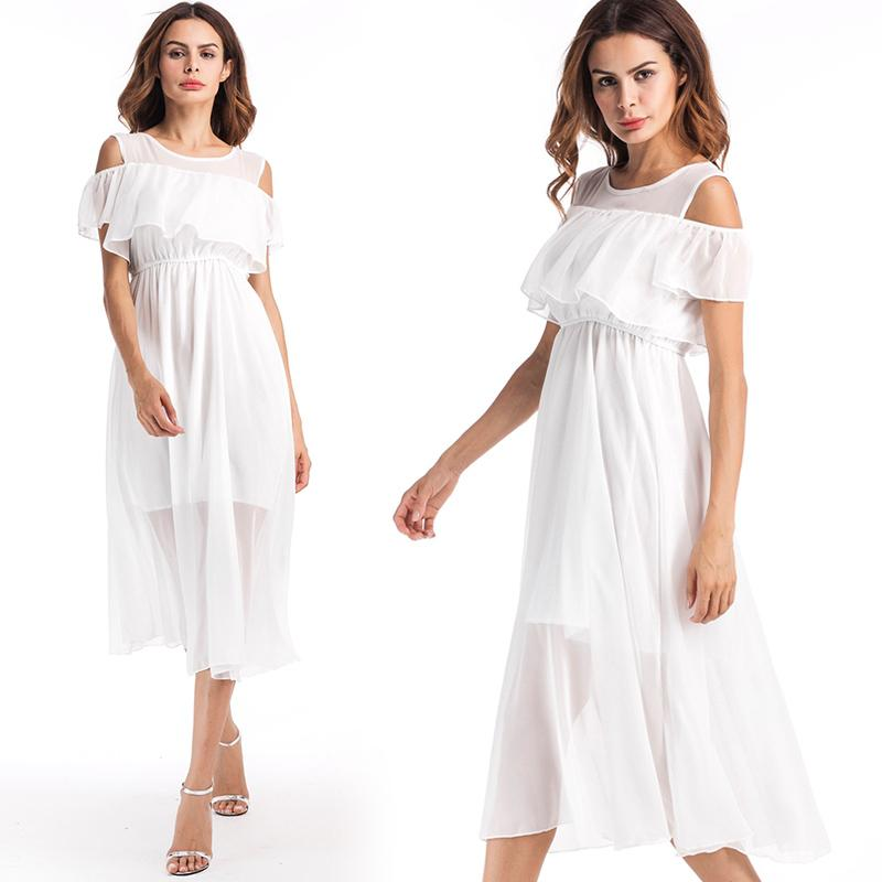 5608b10191 Beach Dresses For Women With Flutter Sleeve Best Quality Chiffon Off  Shoulder Dress White Color Fit For Vacation Casual Date Occation Buy Dress  Evening ...