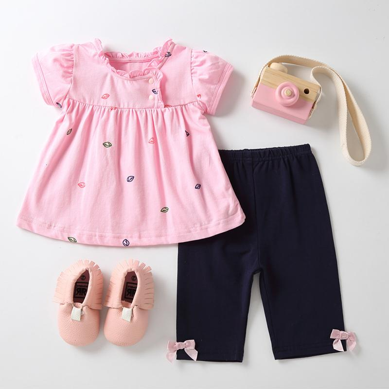 7666e7a5d692 2019 Baby Clothing Set Cotton Top And Bottom T Shirt Pants B014 Children S  Summer Clothes Toddler Girl Outfits Dress With Shorts Set From Newestable