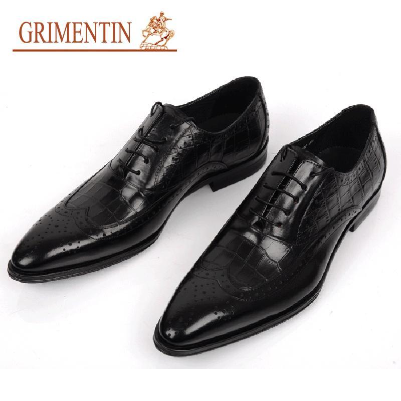compre enuine zapatos de boda para hombre de cuero estilo cocodrilo
