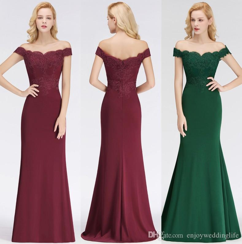 Dark Green Lace Mermaid Bridesmaid Dresses 2019 New Arrival Off Shoulders  Zipper Back Burgundy Wedding Guest Party Wear Custom Made BM0065 Pastel  Pink ... 8c11fa0d206f
