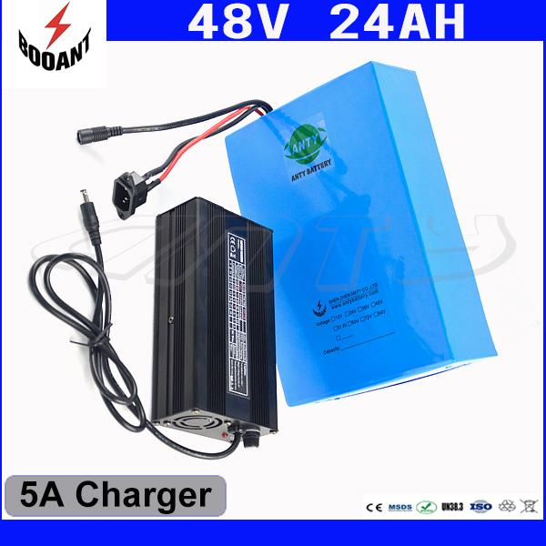 1000W 48V Electric Bike Battery 48V 24Ah For Bafang Motor 18650 Lithium Battery 48V With 5A Charger eBike Battery Free Shipping