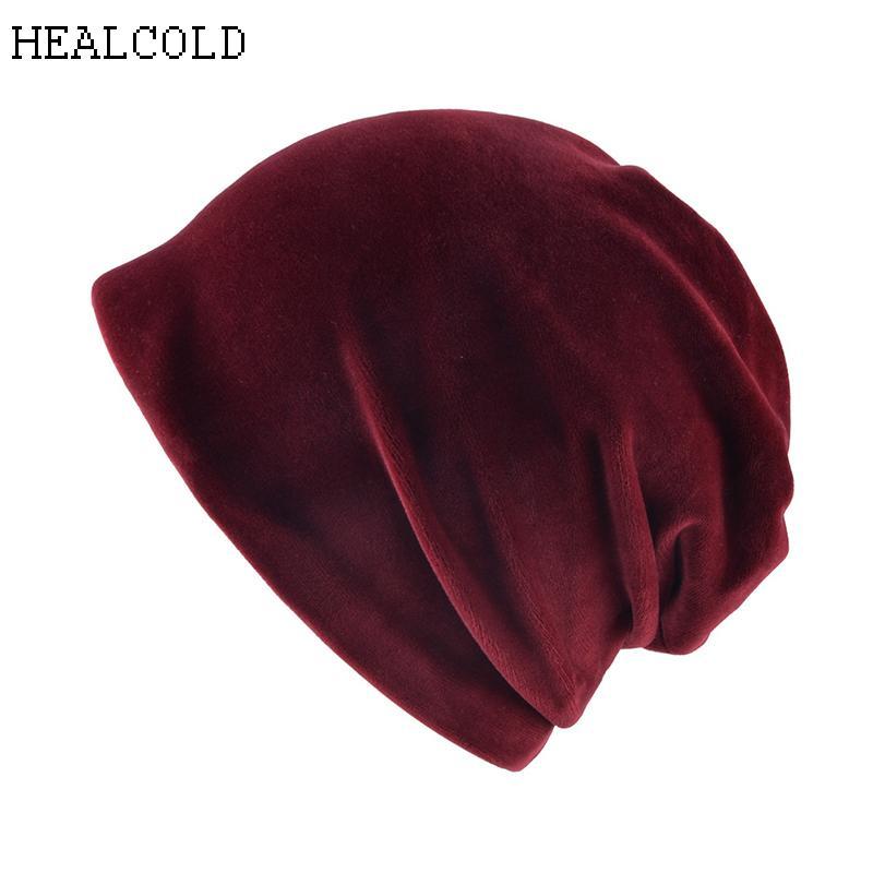 6c923de416e6 2018 новая мода теплый вязаный флис внутри громоздкая Шапочка бархат  Skullies шапки ...