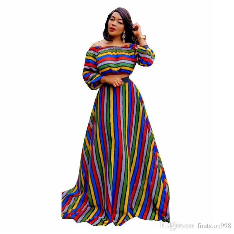 Colorful Striped Sexy Two Piece Outfit Women Clothes Slash Neck Long Sleeve Crop Top And High Waist Maxi Skirts Set Autumn Suits