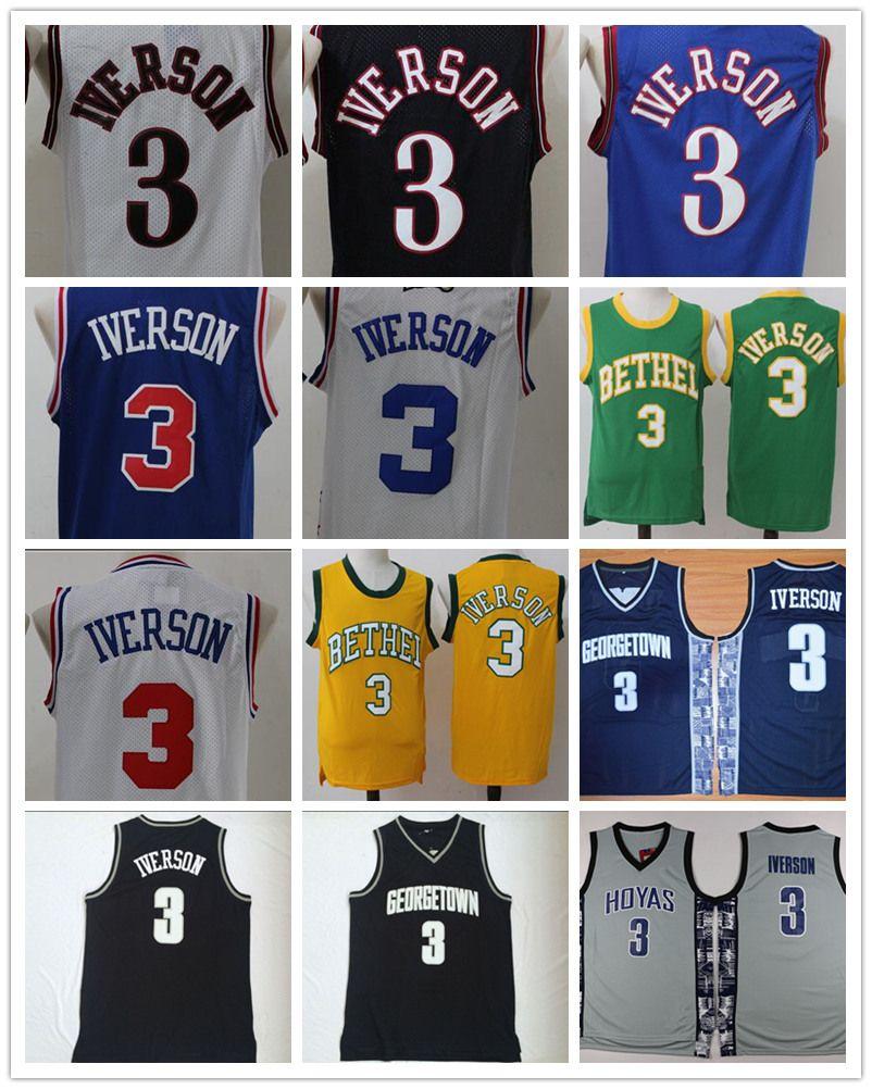 3d061116d63 ... usa ncaa georgetown hoyas 3 allen iverson college jersey mens stitched allen  iverson shirts throwback uniforms