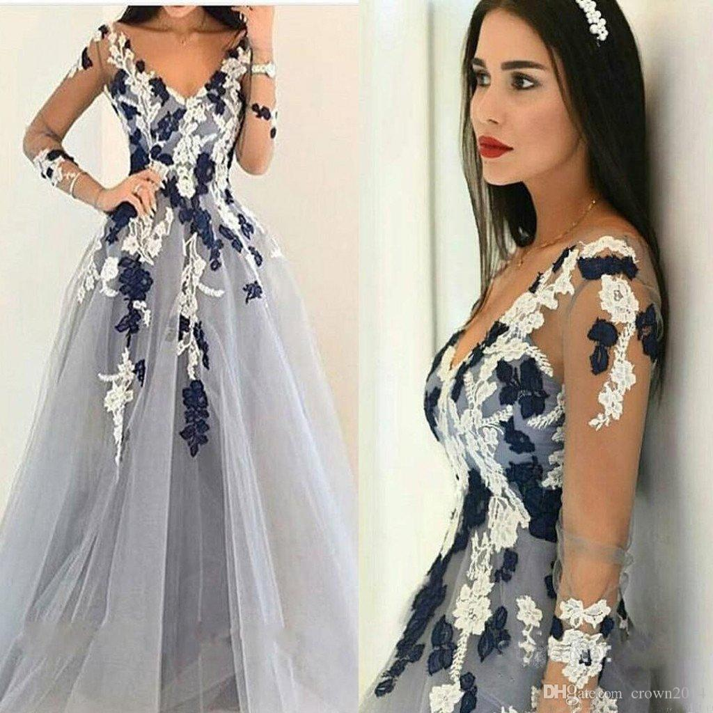 8e42b4acdf Long Sleeves Black And White Applique V-Neck Formal Evening Dresses 2018  A-line Silver Tulle Cocktail Party Special Occasion Dresses
