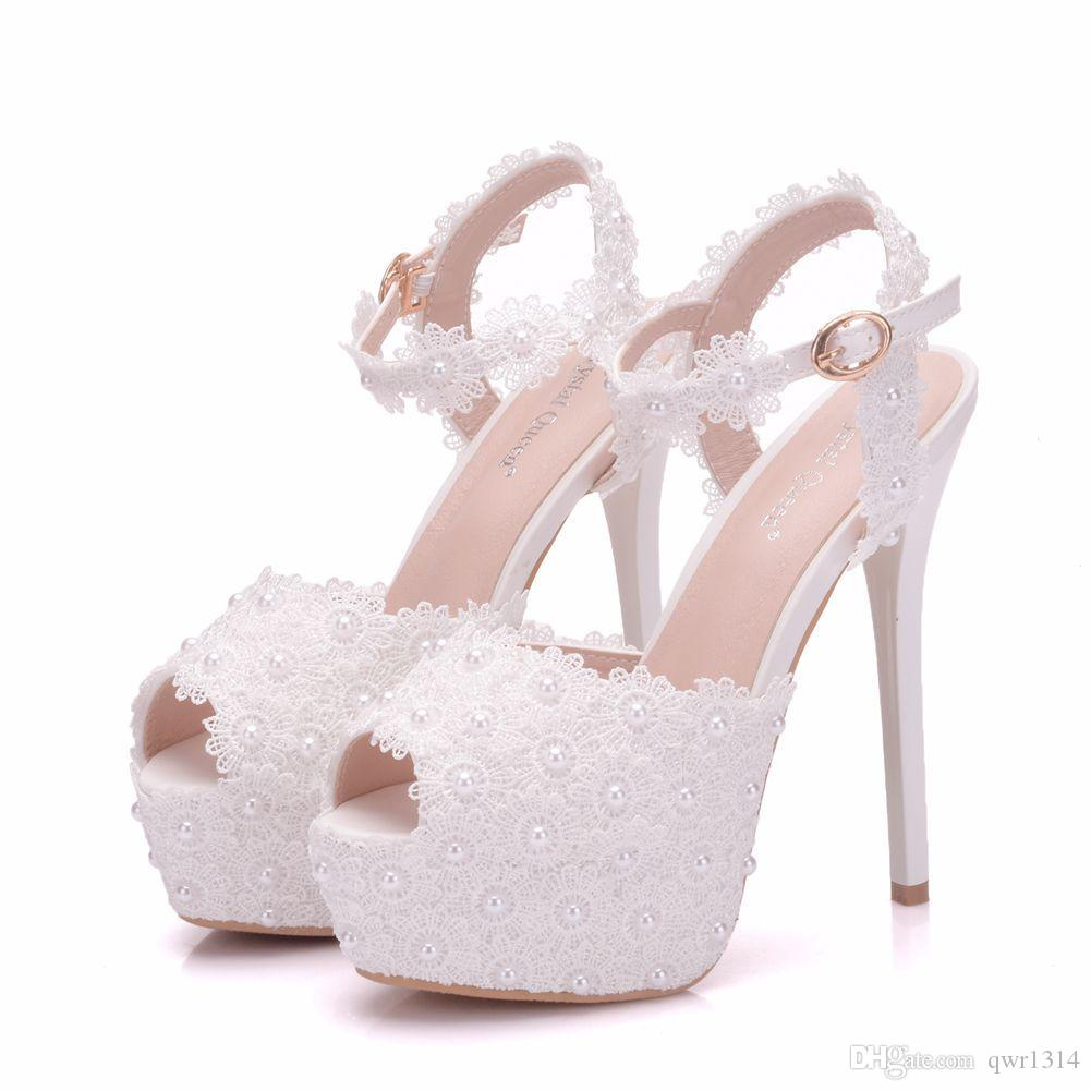 43486e6545ba New White Lace Flowers Buckle Peep Toe Shoes For Women High Heels Fashion Stiletto  Heel Wedding Shoes Platform Pearls Bridal Sandals Silver Shoes Mens ...