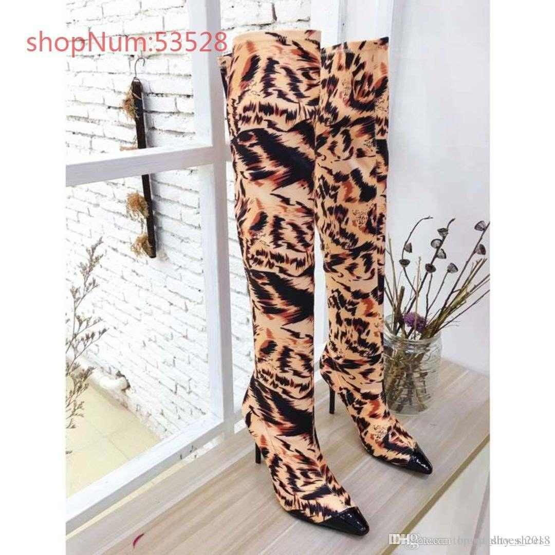 3c12163fe37 Faux Suede Slim Boots Sexy Leopard Print Over The Knee High Women Fashion  Winter Thigh High Heels Boots Woman Boots Uk Winter Boots From  Brand shoes 2018