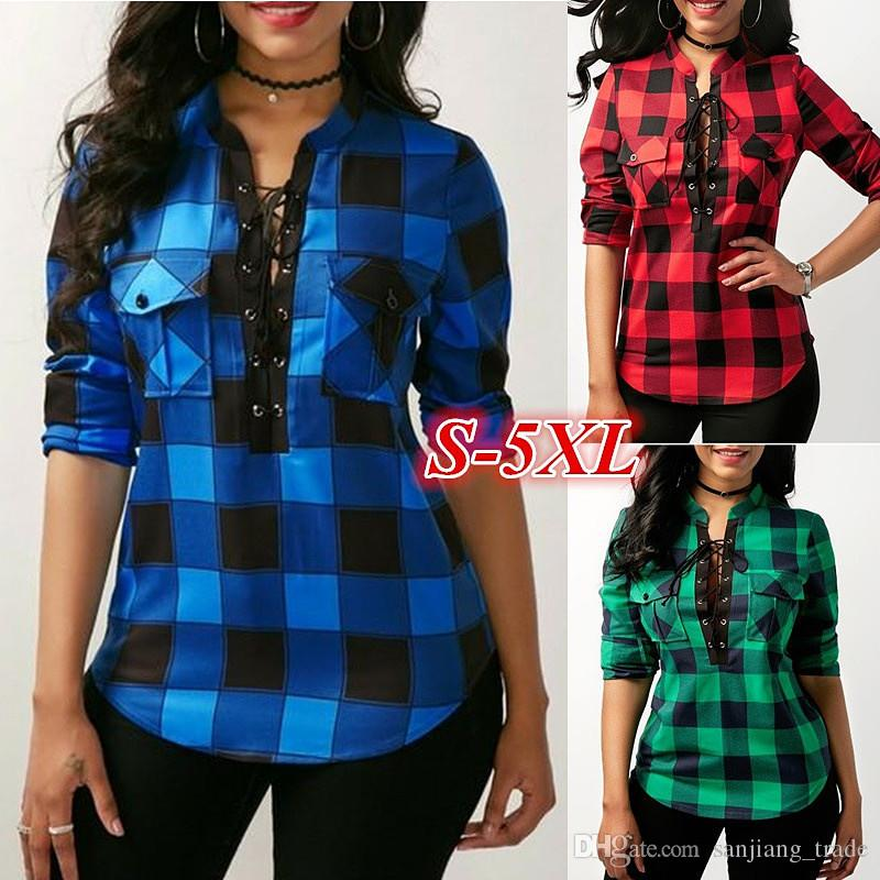 1fbd9a3c49d08 2019 Women Plaid Shirt M 5XL Spring Casual Lapel Plus Size Blouses Women  Plaid Shirt Checks Flannel Shirts Female Long Sleeve Tops Blouse From ...