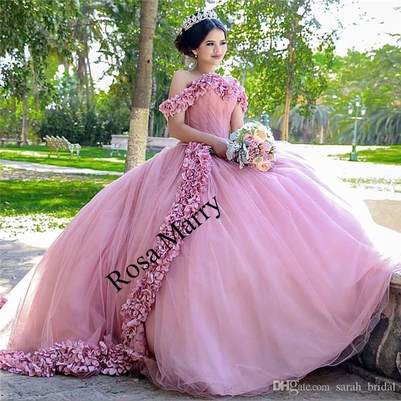 181de04b5f Compre Pink Sweet 16 Vestidos De Quinceañera De Mascarada 2018 Vestido De  Bola De Hombro Hechos A Mano 3D Flores De Vestidos 15 Anos Más Vestidos De  Baile ...