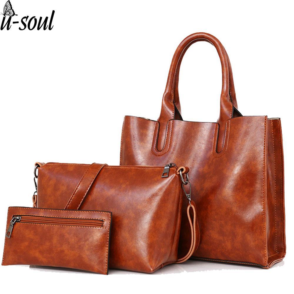 611ecd3ec65a Bag Set Leather Bags Handbags Women Famous Brand Shoulder Bag Female Casual  Tote Women Handbags Bolsas Feminina SJ017 Womens Purses Women Bags From ...