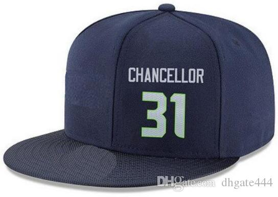 Snapback Hats Custom any Player Name Number #31 Chancellor Seattle hat  Customized ALL Team caps Accept Custom Made Flat Embroidery Logo Name