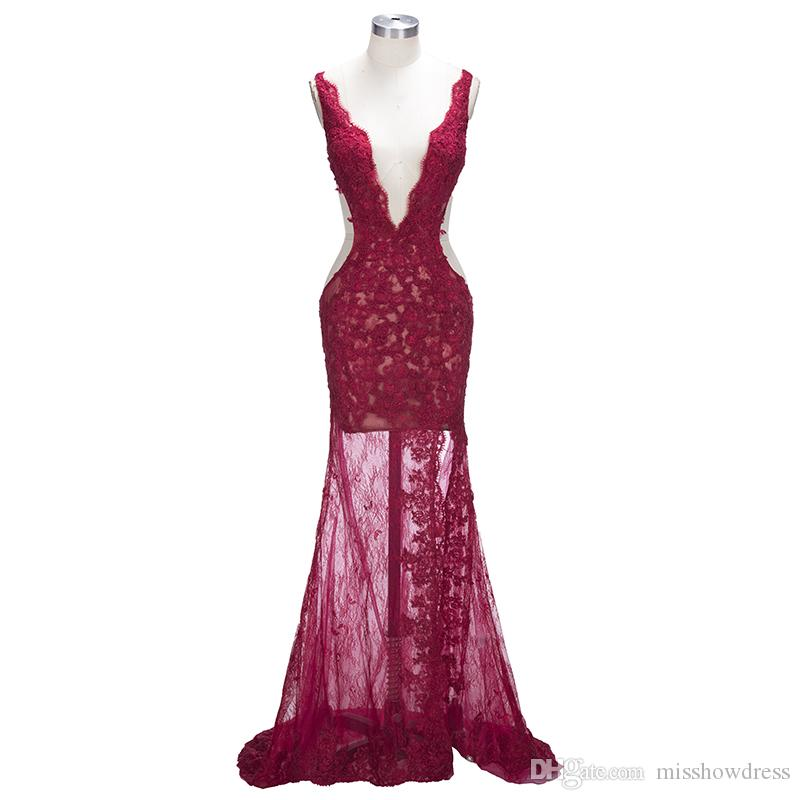 Prom Dresses 2018 Lace Sexy Red Spaghetti Straps V-Neck Side Split Mermaid Evening Gowns Sleeveless Plus Size Custom Made Celebrity Dresses