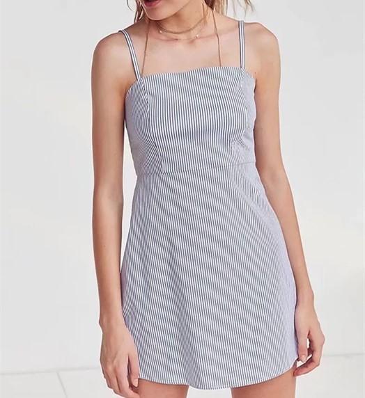 design de qualité 0d9c5 40442 Robe Femme Ete 2018 Lady Striped Dress Spaghetti Strap Party Dress Vestidos