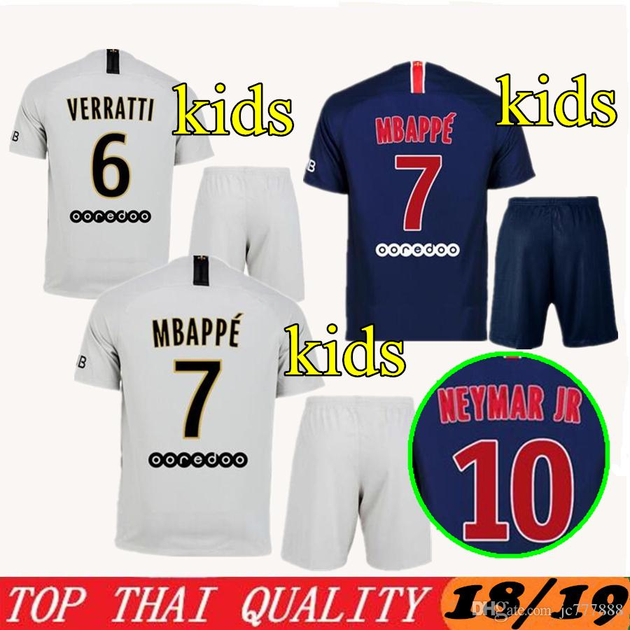 2019 Q2018 2019 Kids Mbappe VERRATTI CAVANI Children PSG Soccer Jerseys  Uniform Set 18 19 Kits Away DI MARIA Draxler Paris Football Shirt From  Jc777888 a09df80ff