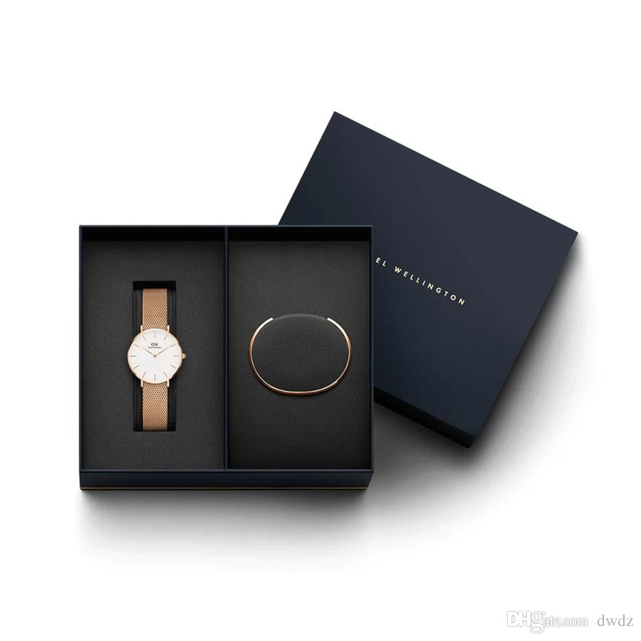 Woman Daniel Wellington New Gift Packaging DW Fashion Brand Bracelet And 32MM Women Stainless Steel Rose Gold Gift Watch Female Lady Montre