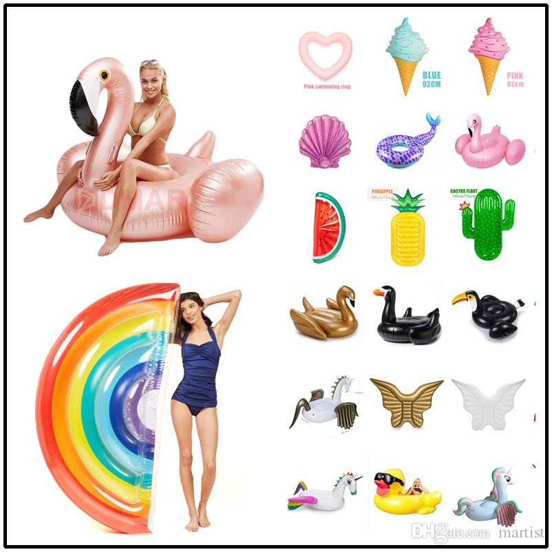 2018 42 Styles Unicorn Flamingo Swan Inflatable Floats Mattress Tubes  Swimming Rings Seat Boats Pool Toys For Adults Children From Martist,  $18.69 | Dhgate.