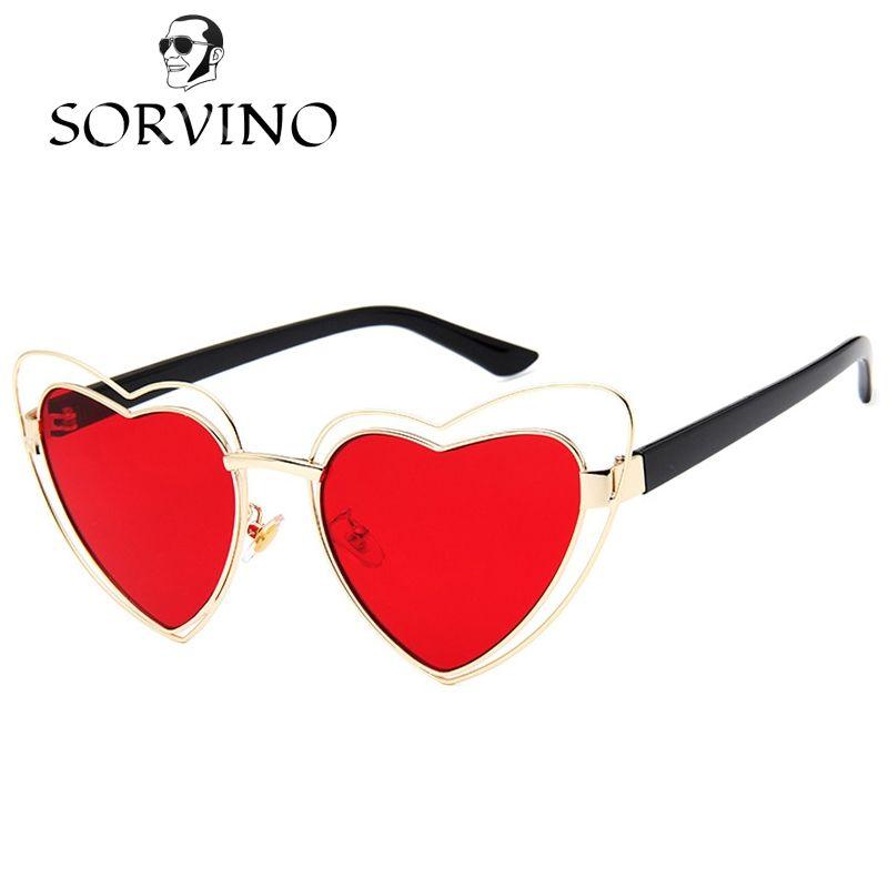 94da93b8f28 SORVINO 2018 Love Heart Shape Sunglasses Women Cat Eye Wire Metal Frame Vintage  Retro 90s CATEYE Sun Glasses Red Pink Yellow Lens Female Circle Sunglasses  ...