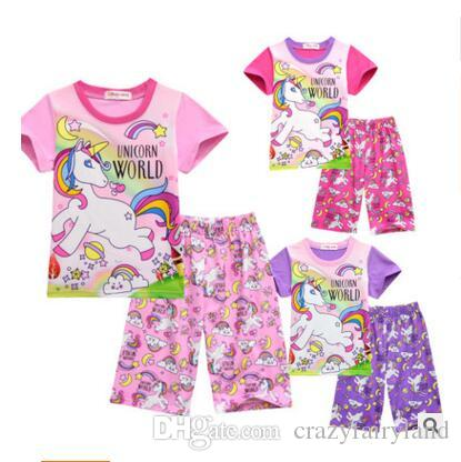 b6a5a888af055 Girls Pink Unicorn Clothing Set T shirt Pants 2pcs Kid Cartoon Tops Tee  Short Pants Pajamas Sets Children Summer Pyjamas Free Shipping