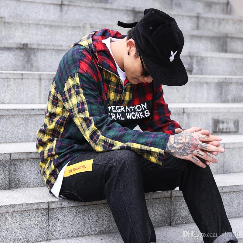 Patchwork Pullover larga a cuadros de manga camisas, sudaderas con capucha para hombre de Hip Hop Impreso bolsillo de la cremallera camisas casuales de la moda Streetwear
